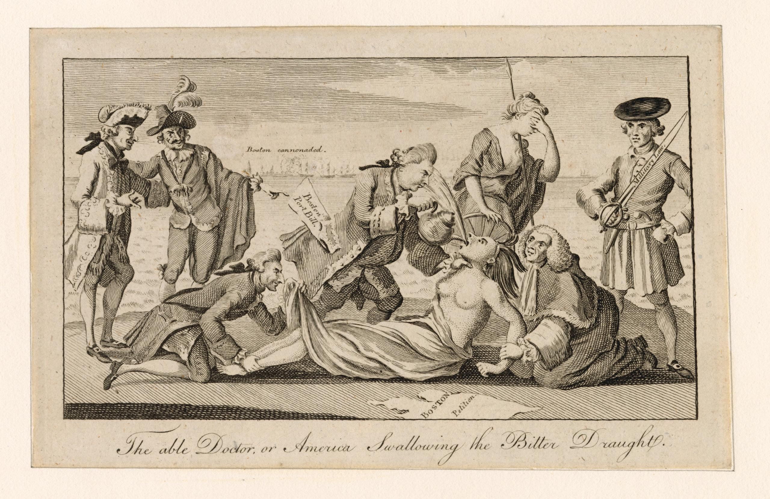 "This 1777 print entitled, ""The able doctor, or America swallowing the bitter draught,"" depicts the British ministry forcing tea and imperial rule down America's throat. The Miriam and Ira D. Wallach Division of Art, Prints and Photographs: Print Collection, The New York Public Library."