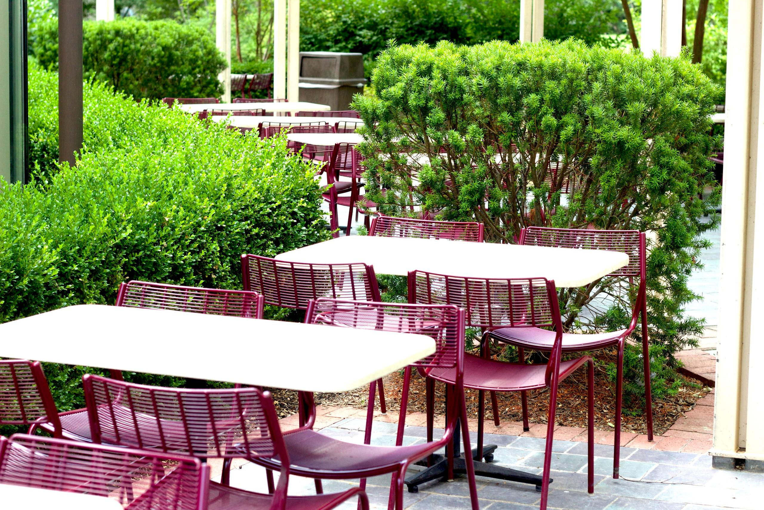 Dine with us out in our peaceful outdoor terrace or in our air conditioned pavilion.