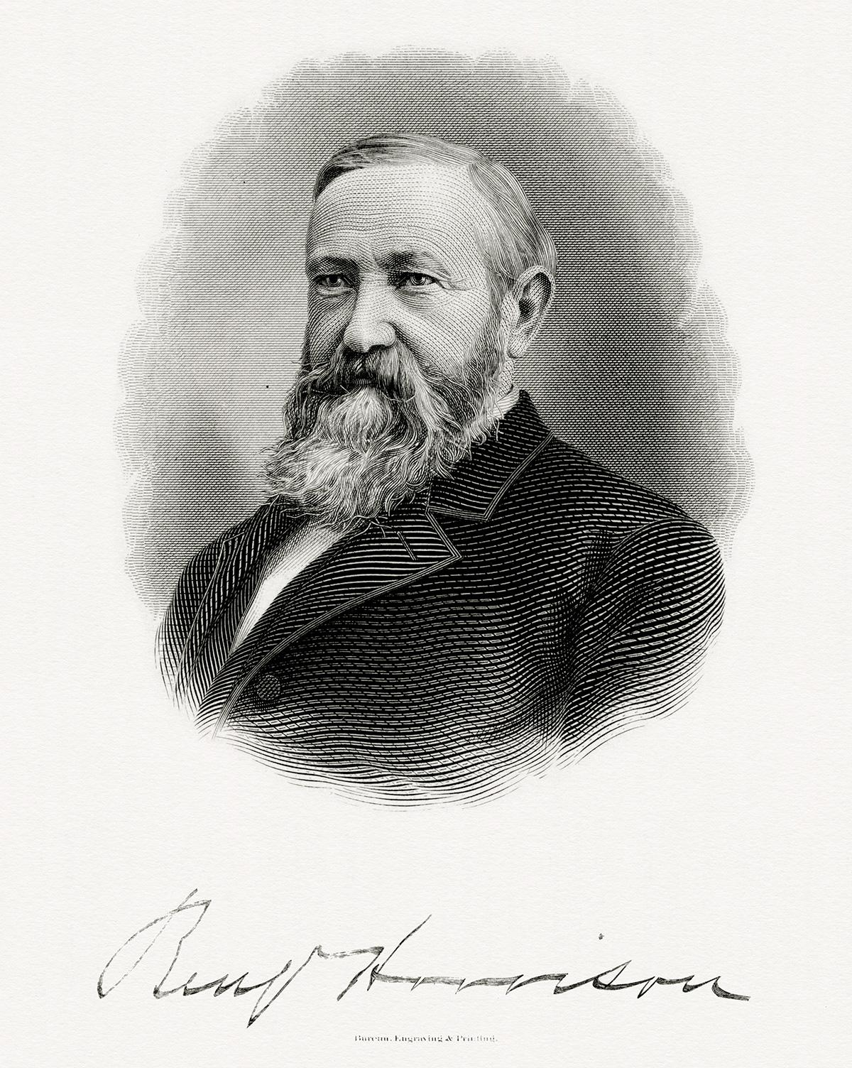 Bureau of Engraving and Printing's portrait of President Benjamin Harrison (Wikimedia)