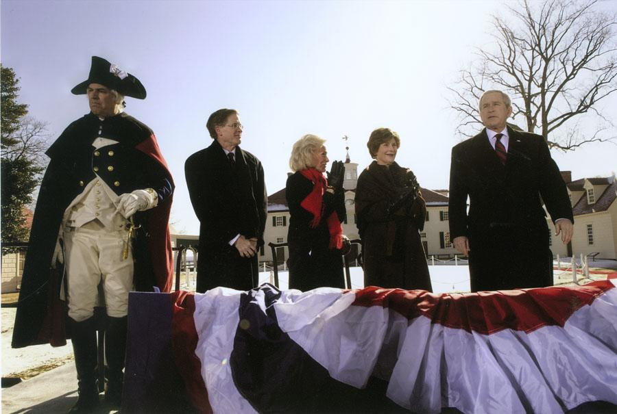 President George W. Bush and Mrs. Laura Bush visited Mount Vernon to honor George Washington on his 275th birthday in 2007