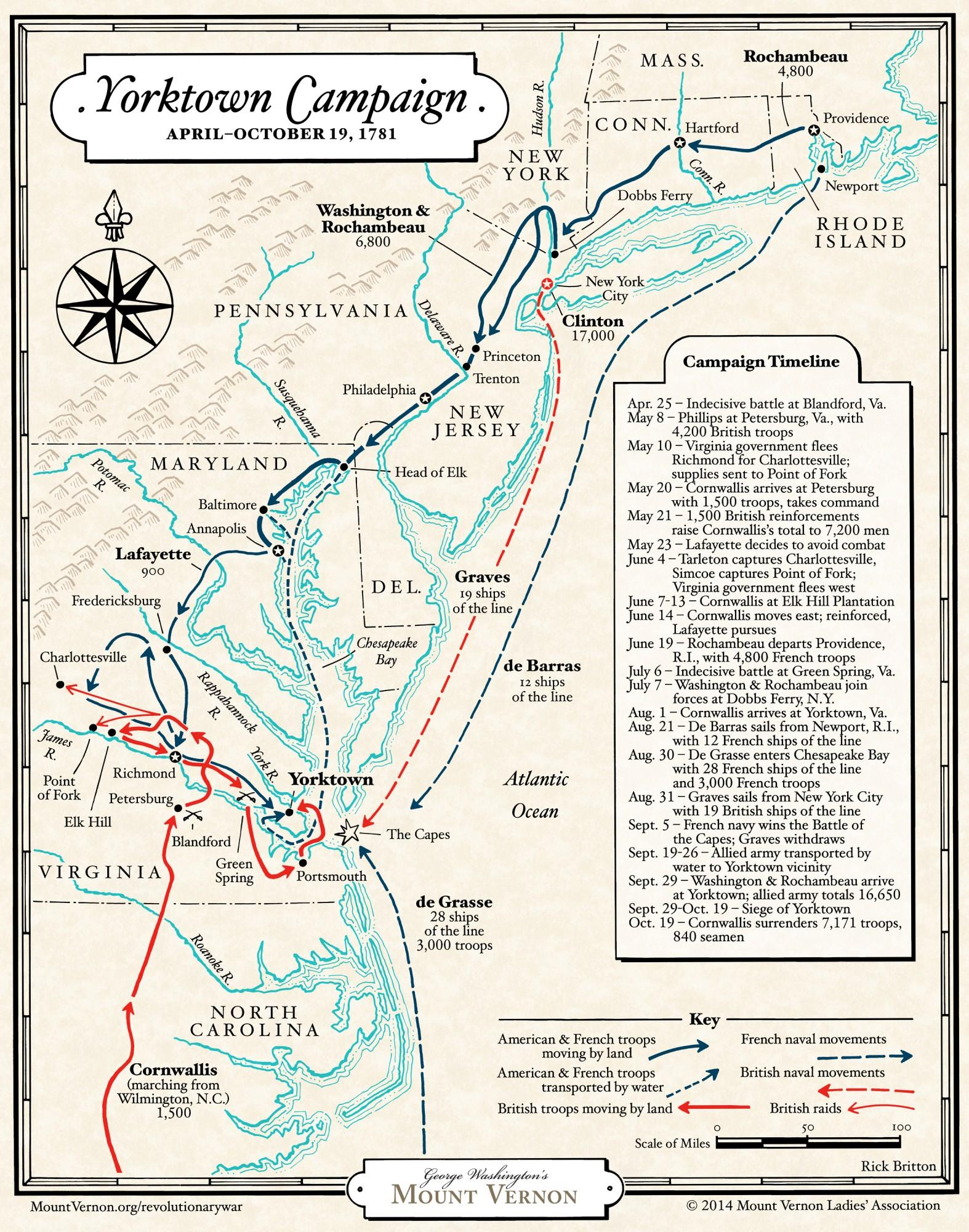 Map: The Yorktown Campaign. Courtesy of the Mount Vernon Ladies' Association.