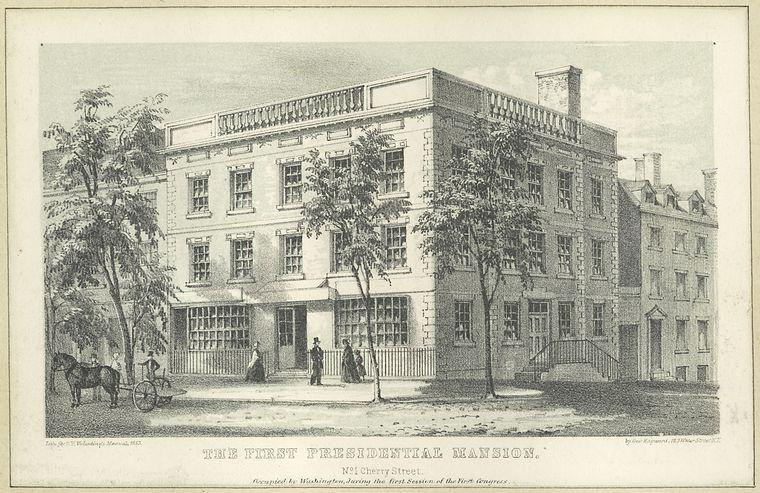 First Presidential Mansion, occupied by President Washington and his family, April 1789 - February 1790 (Wikimedia)
