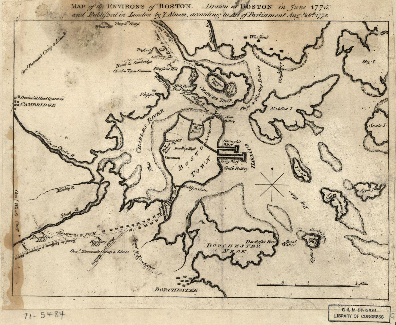 This map, showing camps and fortifications, was drawn during the Siege of Boston. Published by J. Almon, 1775. Library of Congress call number G3764.B6S3 1775 .A5.