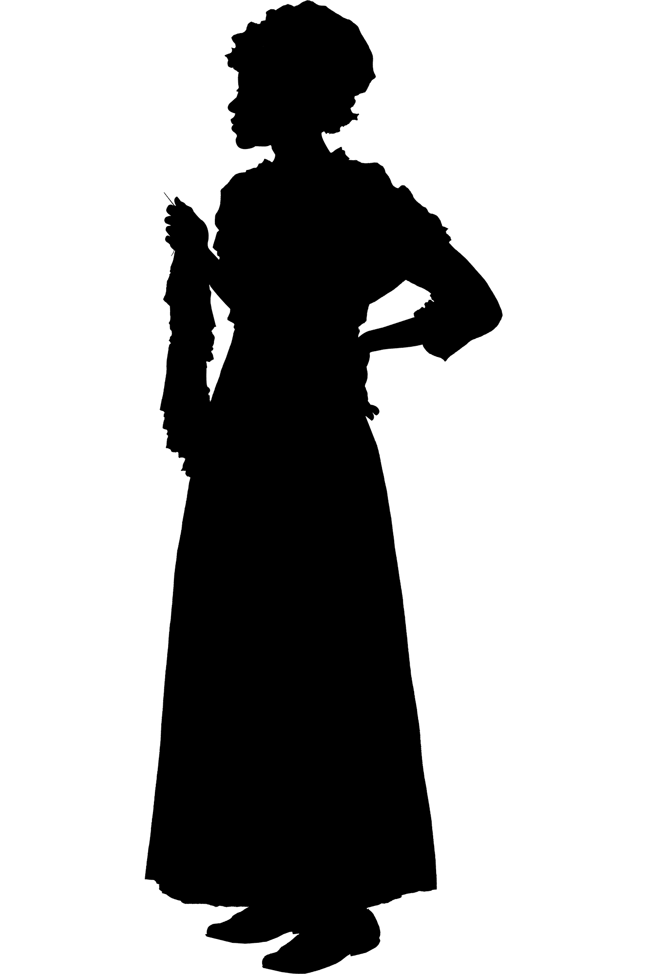 We rarely know what 18th-century enslaved individuals looked like. This silhouette is meant to represent Ona Judge. The design was based on physical descriptions, age, gender, clothing, and work assignment.
