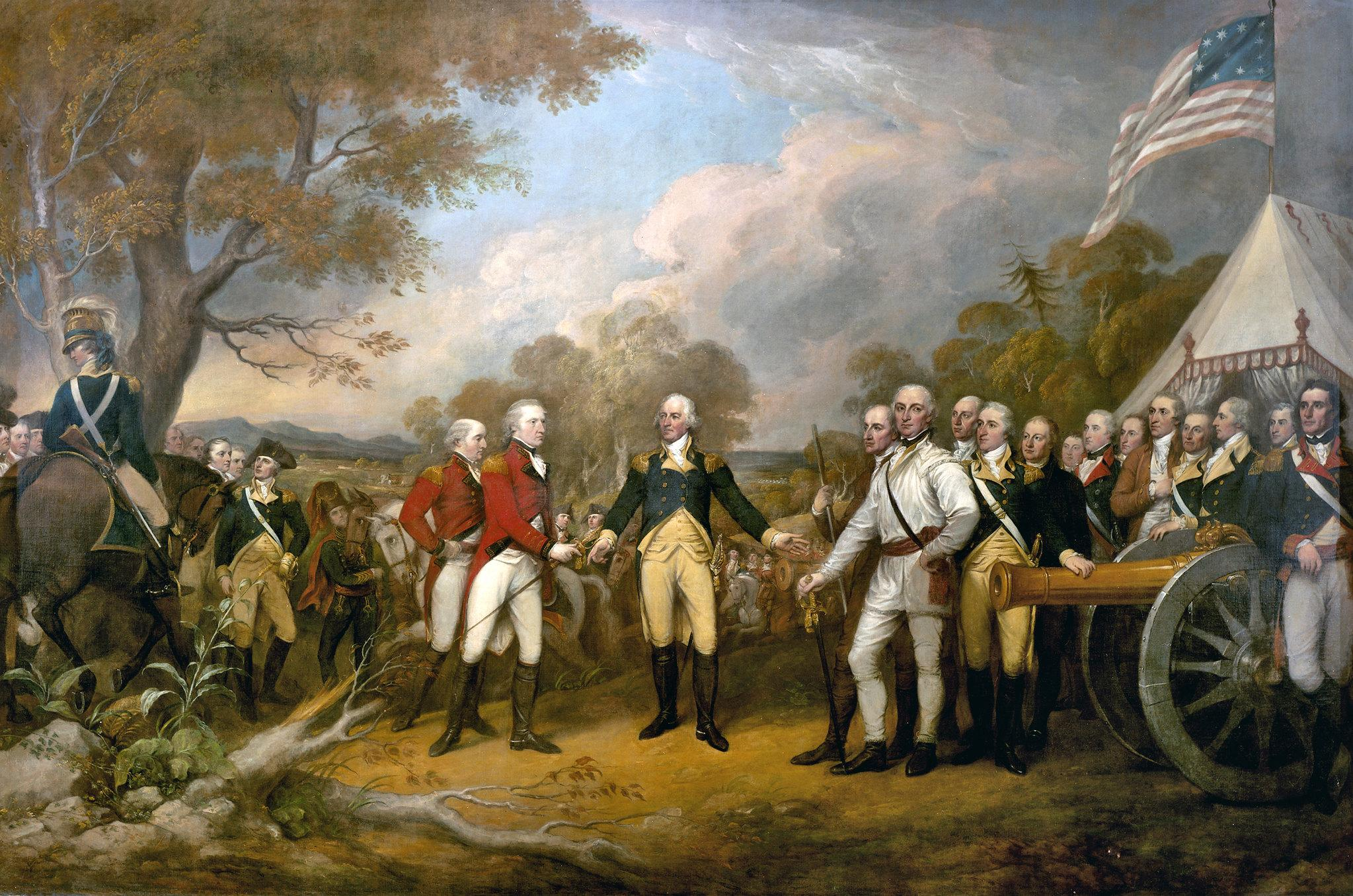 Surrender of General Burgoyne, by John Trumbull, c. 1821. Courtesy of the Architect of the Capitol.  Schuyler can be seen on the right side of the portrait, dressed in brown.