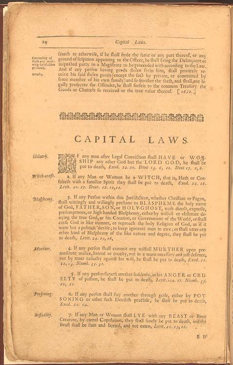 These 17th-century Massachusetts laws were based on scripture. The General Laws and Liberties of the Massachusets Colony: Revised and Reprinted, Cambridge, Massachusetts: Samuel Green, 1672. Law Library, Rare Book Collection, Library of Congress.