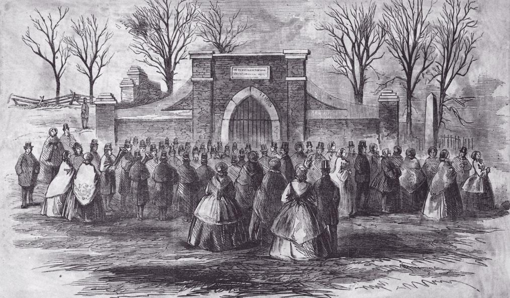 Visit of the members of Congress to the tomb of Washington by invitation from the ladies of the Mount Vernon association, Harper's Weekly, March 7, 1860 (Mount Vernon Ladies' Association)